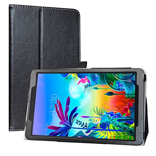 LiuShan Kompatibel mit LG G Pad 5 Schutzhülle, PU-Leder, schmal, faltbar, mit Standfunktion, für LG G Pad 5 10.1 T600 Tablet PC (nicht für LG G Pad X II 8.0 Plus V530), Schwarz