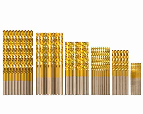 COMOWARE Mini Drill Bit Set Titanium - 60 Pcs Small Drill Bit Set High Speed Steel, Micro Drill Bit for Wood, Plastic, Aluminum Alloy, (3/64'-1/8')