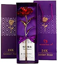 CLICKUS 24K Gold Rose with Carry Bag and Box, Standard, Red