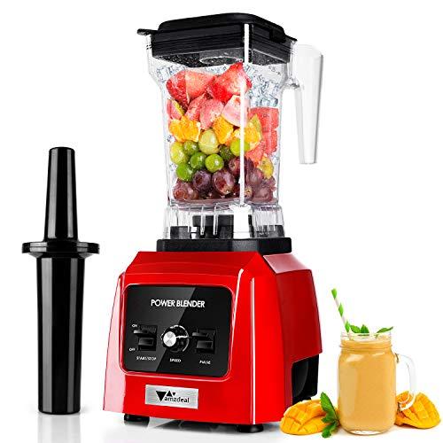 amzdeal Standmixer 2600W - Smoothie Mixer mit 14 stufenlosem Tempos, Impuls-/Ice-Crush Funktion, Klinge aus Edelstahl 316, 1.6L Kapazität Blender, Smoothie Maker für Fruchtsaft, Gemüsesäfte, BPA frei