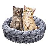 Greatideal Pet Cat Basket Handgewebter Katzenkorb aus Dicker Wolle Heimtierbedarf