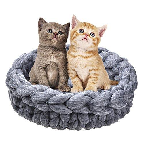 greatdaily Dicke Woll Katze Betten Haustier-Auflage, Katze Nest-Hundebett Deep Sleep Kennel, Handgestrickter Katzenkorb Schlafsack, Bequem Und Warm, Modern Und Neu.