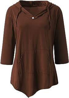 HNTDG Women's Medium Long Sleeve Loose Pure-Color Sweater Sexy V-Neck Fashion Pocket T-Shirt Blouse