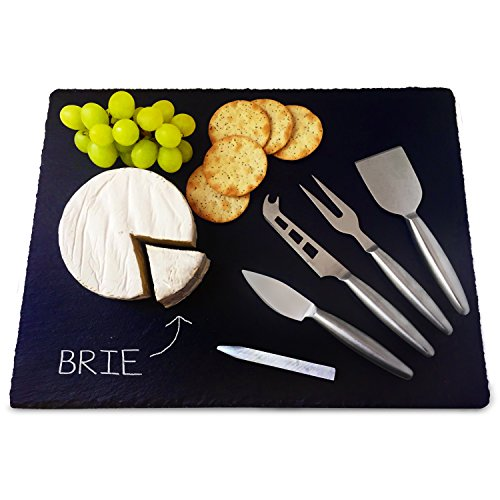 6-Piece 16 x 12 Inch Large Slate Cheese Server Board and Knife Chalk Gift Set - Incl. 4 Stainless Steel Cheese Cutlery Tools And Soap Stone Chalk Pencil- Slate Platter for Cheeses, Charcuterie, Tapas