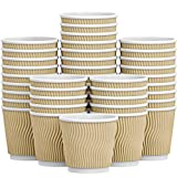 Luckypack Hot 4 oz Disposable Insulated Corrugated Sleeve Ripple Wall Paper Coffee Cups for Drink, 100,4oz, Brown