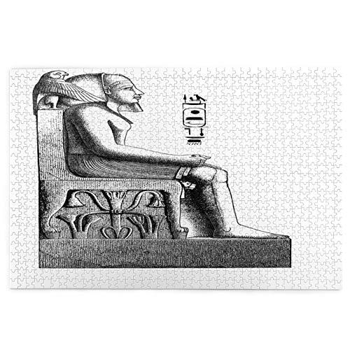 Rompecabezas de 1000 Piezas,Rompecabezas de imágenes,Egipto Faraón Rey Pose un pájaro Hawk Sketch,Juguetes Puzzle for Adultos niños Interesante Juego Juguete Decoración para El Hogar