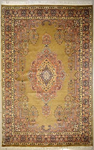 etnico Kirman handgefertigter Orientalischer Teppich aus Seide und Wolle, 195 x 274 cm, beige, symmetrisches Design