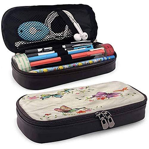 Estuche para lápices, Estuche para lápices de cuero, Estuche para lápices, Banda elástica de gran capacidad Colección Butterfly Butterfly 4cmx9.2cmx20cm