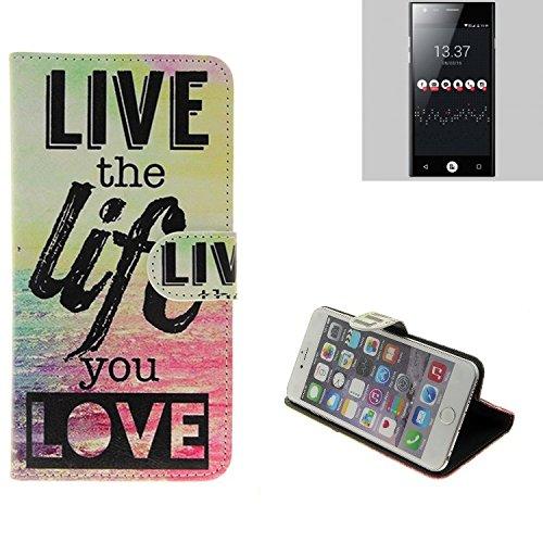 K-S-Trade® Schutzhülle Für ID2ME ID1 Schutz Hülle 360° Wallet Case ''live Life Love'' Schutzhülle Handy Tasche Handyhülle Etui Smartphone Flip Cover Standfunktion (1x)