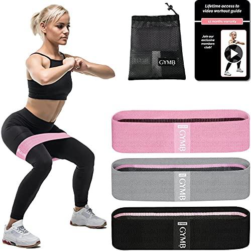 GYMB Booty Bands for Women Butt and Legs - Non Slip Resistance Bands to Work Out Glute, Thighs & Squat - Includes Fitness Training Videoswith 80+ Workoutsto Exercise at Home or Gym