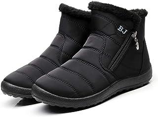 Lazzy Botas de nieve de invierno para mujer, botines de piel sintética, botines de terciopelo, botas de punto antideslizan...