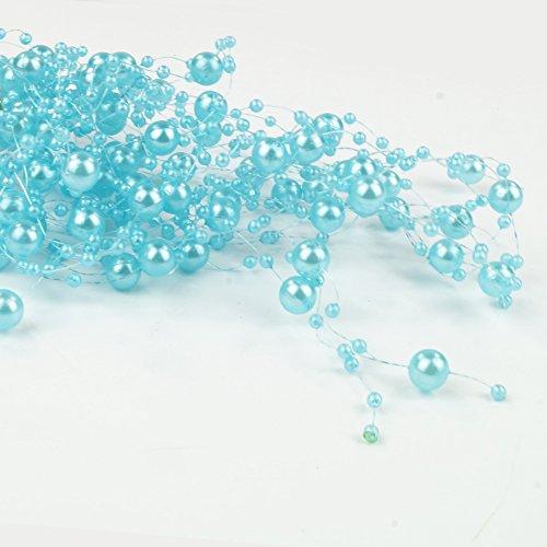 6,5 m Perlengirlanden Türkis - Perlengirlande Dekoschnur Perlenkette