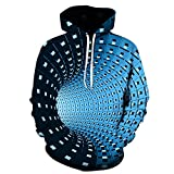 TLZD - Túnel de espacio en 3D para hombre y mujer, impresión digital, capucha suelta con capucha, sudadera con capucha, con cordón, gran bolsillo, sudadera deportiva, sudadera H 4X-Large