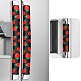 MRKG Refrigerator Door Handle Covers, 3 Pieces, Non-Slip, Washable, Kitchen Appliance Handle Covers, Keep Your Kitchen Appliance Clean from Smudges, Drips, Food Stains, Oil.(Strawberry, Black)