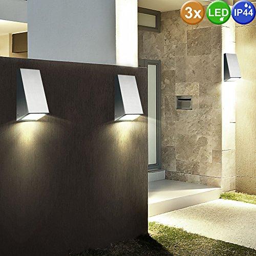 3er Set LED Edelstahl Wand Leuchten Fassaden Garten Lampen Außen Beleuchtung Hof Einfahrt Strahler