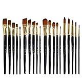 AOA - Juego de 5 cepillos de nailon para el pelo, protección del medio ambiente, barra de madera negra, juego de brochas de bricolaje