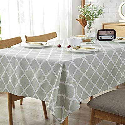 Amzali Classic Geometric Series Tablecloth Cotton Linen Dust-Proof Table Cover Kitchen Dinning Tabletop Home Decor