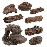 STOBOK Ramas de Madera de Driftwood Natural Tocón de Árbol Reptiles Decoración de Acuario Pecera Cueva Hideout Madera Decoración Driftwood para Acuario Reptiles Terrario Tanque 8 Piezas