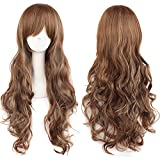 Pelucas mujer cosplay anime disfraz largo ondulado con flequillo, YEESHEDO peluca larga y rizada pelo natural sintético completo para niñas 28 pulgadas / 70 cm (Marron oscuro)