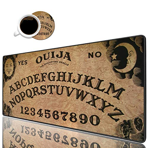Desk Pad Mat Gaming Mouse Pads with Coasters Set, Stitched Edges Design Mouse Pad XXL Large Mouse Pad for Laptop Computers Retro Ouija Board Desk Writing Mat for Office & Home 31.5'x 11.8'