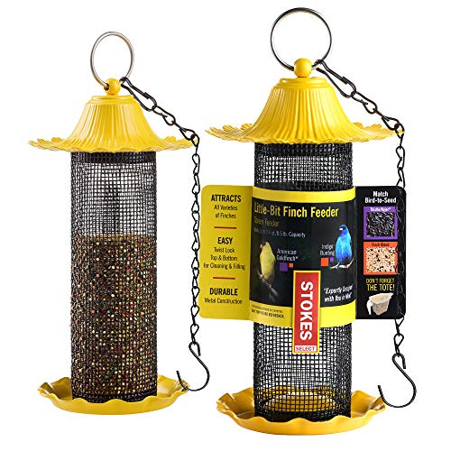 Finch Bird Feeders For Outside [Set of 2] Yellow Wild Bird Feeders - Seeds Will Attracts Birds To Backyard & Garden 5' LB Capacity, Tube Bird Feeders For Outdoors Bundled With 2 SEWANTA Hanging Chains