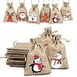 LOKIPA Christmas Jute Burlap Bags, Xmas Jute Linen Burlap Drawstring Gift Treat Candy Bag for Xmas Favors (12)