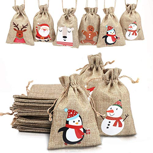 LOKIPA Christmas Jute Burlap Bags, Xmas Jute Linen Burlap Drawstring Gift Treat Candy Bag for Xmas Favors (12)