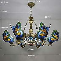 ヴィンテージティファニースタイルのペンダントランプシェードとステンドグラスの蝶の天井ランプ、ルーム、キッチン、ベッドルーム、リビングルームのインテリアを食事のための装飾的な天井灯ペンダントライト,13