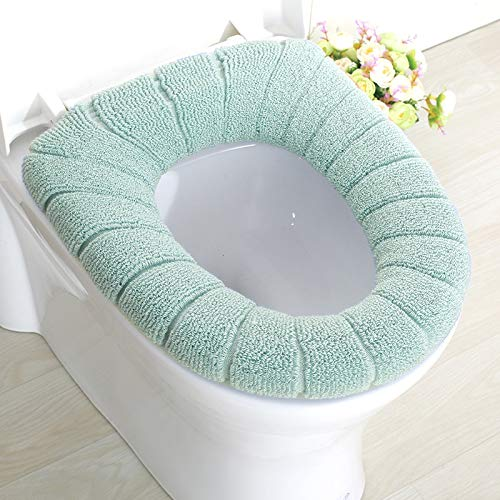 yywl Toilet Lid Seat Cover 2pc Comfortable Case Lid-Cover Seat Velvet Bathroom Comfortable Washable Coral Winter Closestool-Mat Washable Soft Cushion (Color : North EU Green)