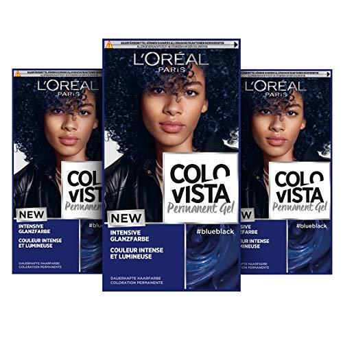 L'Oréal Paris Dauerhafte Haarfarbe, Gel-Coloration, Intensive Glanzfarbe und Farb-Pflegemaske, Colovista Permanent Gel, Blue Black (Dunkelblau), 3 Stück