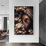 Decoración del hogar abstracta media cara mujer flor arte lienzo pinturas mujer africana impresiones y carteles cuadro de arte de pared 40x60cmx1pcs sin marco