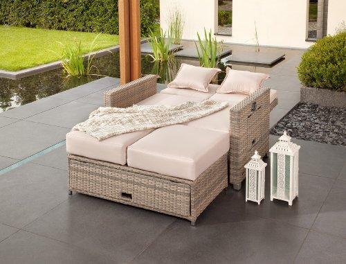 greemotion Rattan-Lounge Bahia Twin, Sofa & Bett aus Polyrattan, indoor & outdoor, 2er Garten-Sofa mit Stahl-Gestell, Daybed zweigeteilt, grau-bicolor - 6