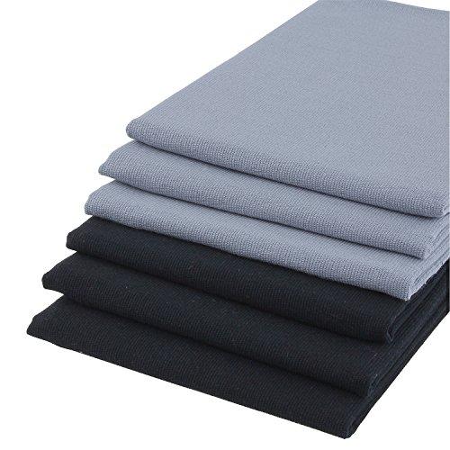 Lot de 6 torchons à vaisselle 100% coton aspect lin en Uni Gris et Noir. 67 x 50 cm Belle Design Serviettes de cuisine. Lavable, Passe au sèche-linge et résistant. 4 faces doublé. Chiffon Sec Avec très bonne capacité d'absorption d'eau.