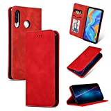 GoodcAcy Hülle Kompatibel mit Huawei P30 lite with[Panzerglas Schutzfolie] Premium Leder Flip Case Schutzhülle Handy Lederhülle Tasche Klapphülle für Huawei P30 lite Rot