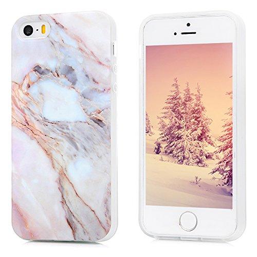 Kasos iPhone 5S Marmor Hülle, Marble Handyhülle : Silikon Case Weich TPU Huelle mit IMD Technologie für iPhone SE Jade