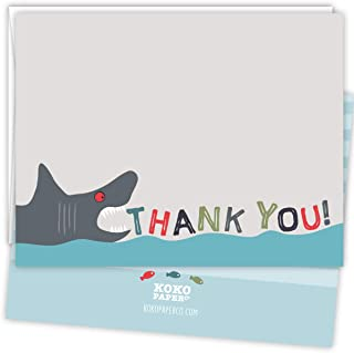 Koko Paper Co Shark Thank You Cards | 25 Flat Note Cards and Envelopes | Printed on Heavy Card Stock.