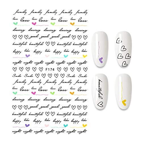 HBNNBV Nails Uñas Postizas 1 unid Pegatina de uñas geométrico Amor-Letras Hoja Flor Copo de Nieve Clavo Arte decoración de manicura Decoraciones Elegante (Color : 40 A140057)