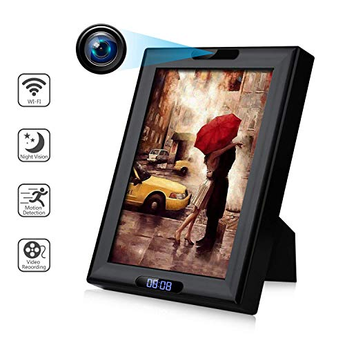 Wireless Camera Photo Frame with Clock HD 1080P WiFi IP Nanny Cam Home Security Cameras Night Vision...
