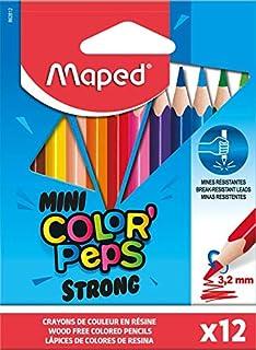 Maped - Crayons de Couleur STRONG Mini Color'Peps - 12 Crayons de Coloriage Ultra-résistants et Ergonomique - Pochette de ...