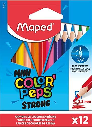 Maped - ergonomische Drei-Kant-Buntstifte, Farbstifte COLOR'PEPS STRONG MINI - besonders stabile Mine 3,2 mm - 12x Stifte