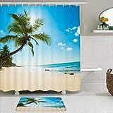LISNIANY Conjunto De Ducha Cortina Alfombra,Playa Tropical Verano Palmera Costa Arenas Olas oceánicas bajo un Cielo Soleado Playa Naturaleza Paisaje,Uso en baño, Hotel