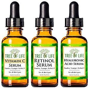 Tree of Life Anti-Aging Complete Regimen 3-Pack, Vitamin C Serum, Retinol Serum and Hyaluronic Acid Serum, Renew, Revitalize and Brighten, 3 Count x 1 Fl Oz