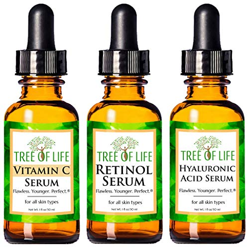 Anti Aging Serum 3-Pack for Face - Vitamin C Serum, Retinol Serum, Hyaluronic Acid Serum - Face Serum Full Regimen Tree of Life Beauty