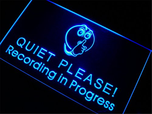 APFoo Recording in Progress Quiet Please Bar Pub LED Neon Light Sign