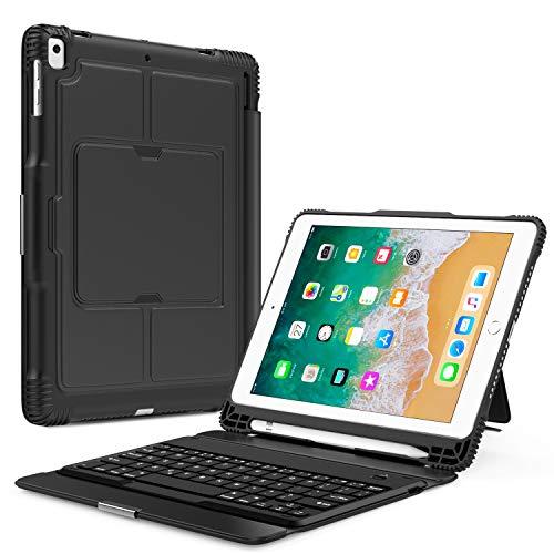 MoKo Tastatur Hülle Keyboard Case für Apple iPad 9.7 Inch 2018/2017(iPad5/iPad6)/ iPad Pro 9.7/ iPad Air/ iPad Air 2 - magnetisch abnehmbarer drahtloser deutscher mit integrierten Apple Bleistift Halter, Auto Schlaf / Wach Funktion - Space Grau