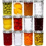 8 Oz Mason Jars Glass Regular Mouth Canning Jars with Airtight Lids & Band, Quilted Crystal Jelly Jars for Jams, Food Storage, Prep, Pickles, Preserves, Overnight Oats, Spices, Salad, Drinking-12 Pack