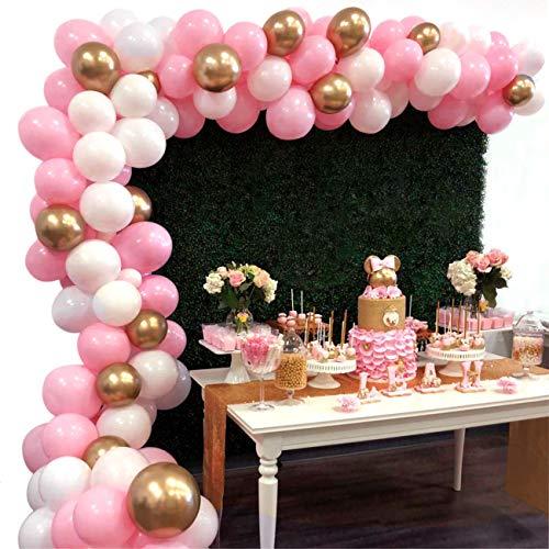 Heboland Ballon Girlande Ballonbogen Kit 5m Lange 112 Stück Rosa Weiß und Gold Luftballons Set für Mädchen Baby Geburtstag Party Hintergrund Deko