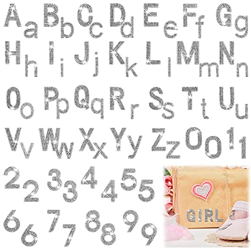 124 Pieces Glitter Rhinestone Alphabet Letter Stickers Number Stickers, 26 Letters Self-Adhesive Bling Crystal Decorative Stickers and Crystal Number Stickers for DIY Art Craft Decorations (Silver)