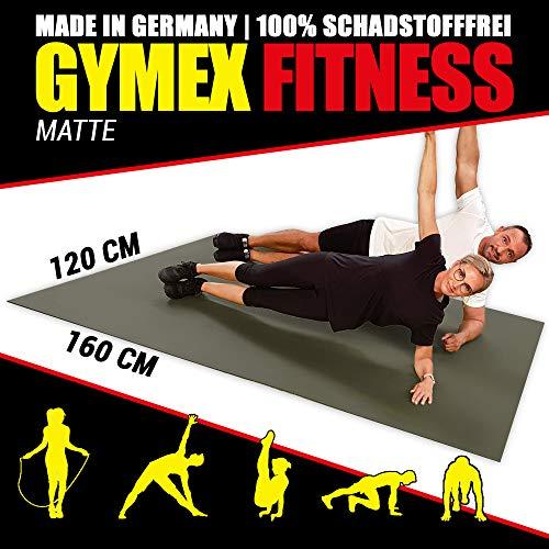 GYMEX Workout Fitness-Matte XXL, extra groß, rollbar, für Yoga, Sport & Fitness 240x180cm Schwarz