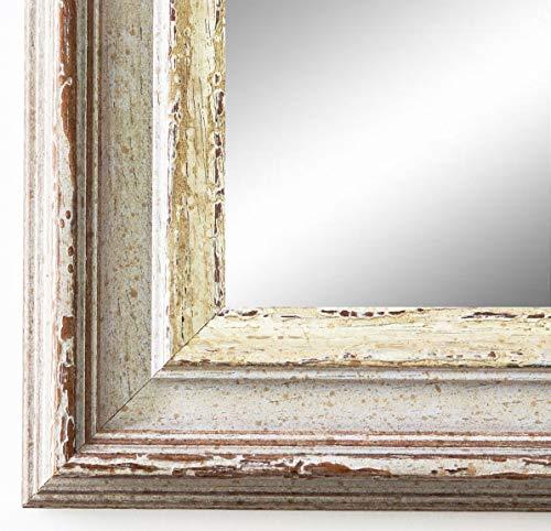 Online Galerie Bingold Spiegel Wandspiegel Badspiegel Flurspiegel Garderobenspiegel - Über 200 Größen - Trento Beige Silber 5,4 - Außenmaß des Spiegels 70 x 110 - Wunschmaße auf Anfrage - Modern